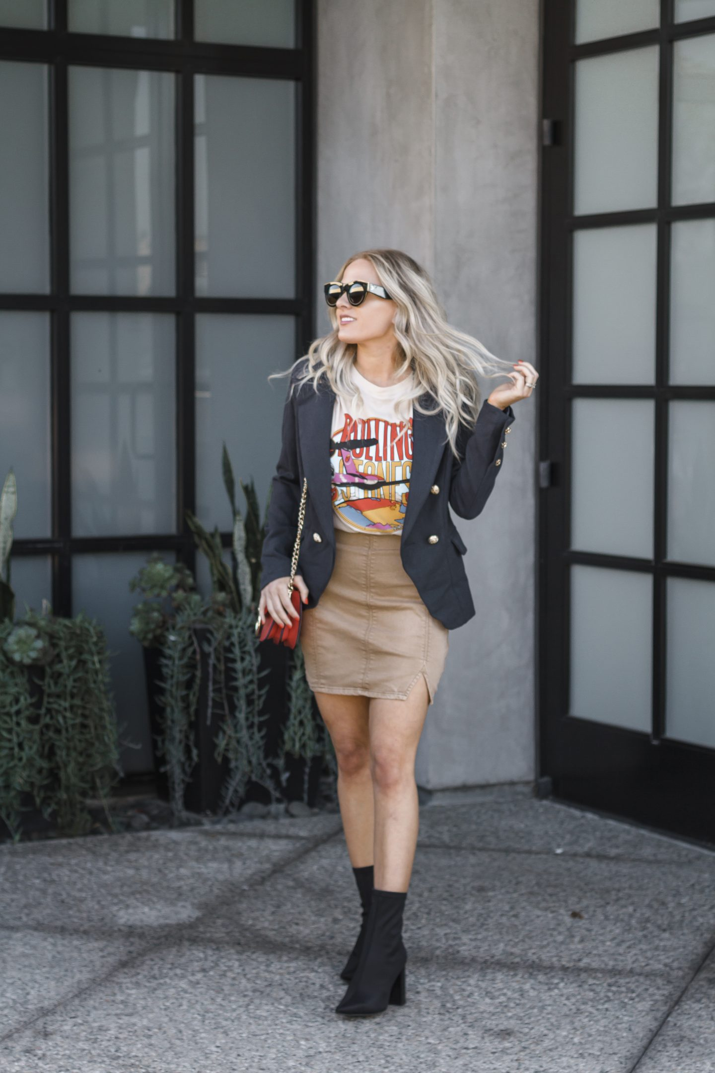 Rolling Stones band tee styled by popular Orange County fashion blogger, Dress Me Blonde